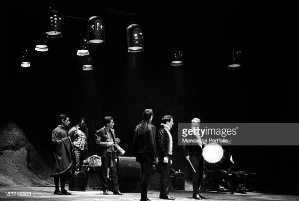 Giorgio Albertazzi onstage with a drum for 'Hamlet' by William Shakespeare directed by Franco Zeffirelli Rome Eliseo theatre from 4th december 1963...