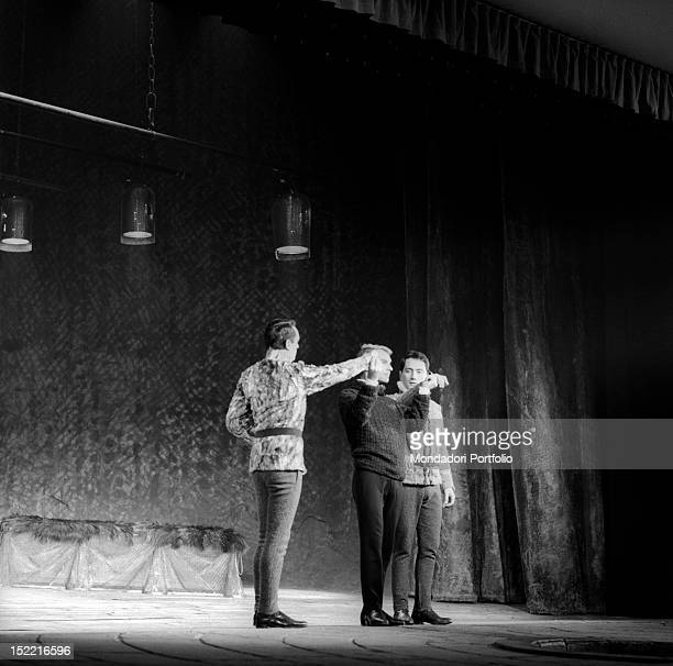 Giorgio Albertazzi onstage with two actors for 'Hamlet' by William Shakespeare directed by Franco Zeffirelli Rome Eliseo theatre from 4th december...