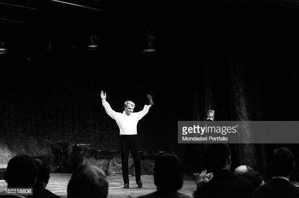 Giorgio Albertazzi takes a call at the end of 'Hamlet' by William Shakespeare directed by Franco Zeffirelli Rome Eliseo theatre from 4th december...