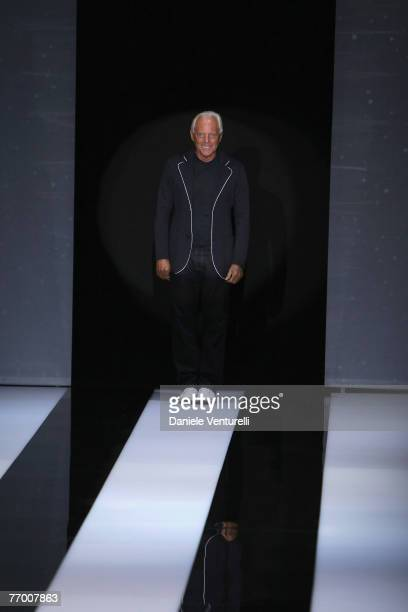 Giorgio Armani acknoledges the applause of the public after the Giorgio Armani show as part of Milan Fashion Week Spring Summer 2008 on September 24...