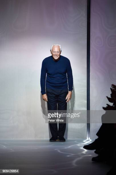 Giorgio Armani acknowledges the audience at the Giorgio Armani Prive Spring Summer 2018 show as part of Paris Fashion Week on January 23, 2018 in...