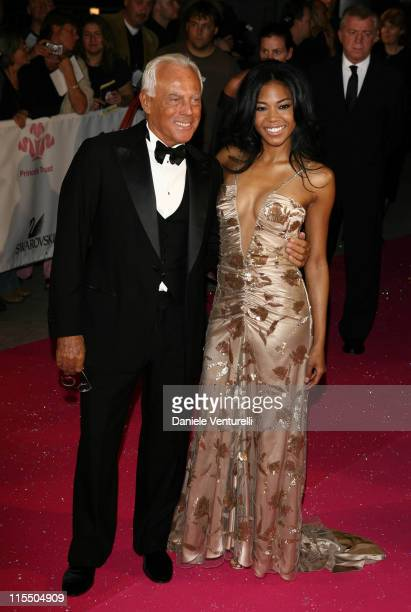 Giorgio Armani and Amerie during Swarovski Fashion Rocks for the Prince's Trust Red Carpet Arrivals at Forum Grimaldi in Monte Carlo Montecarlo Monaco