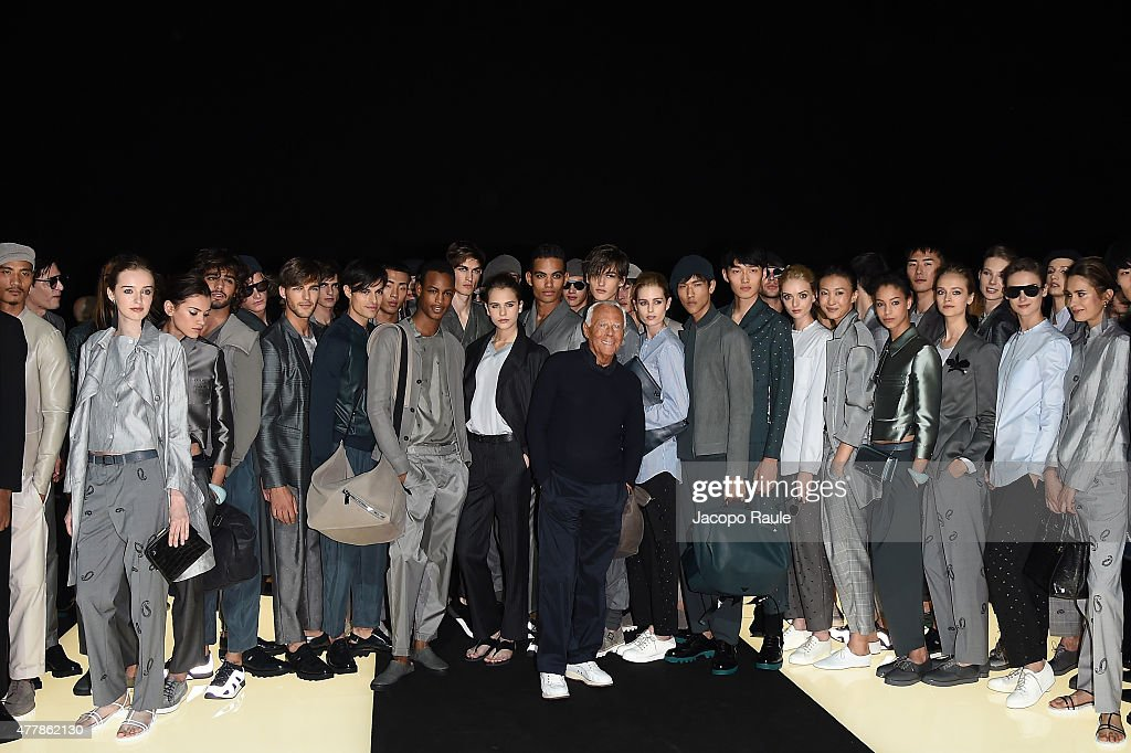 a4404684ccb Giorgio Armani and group of models on the runway after the Emporio ...