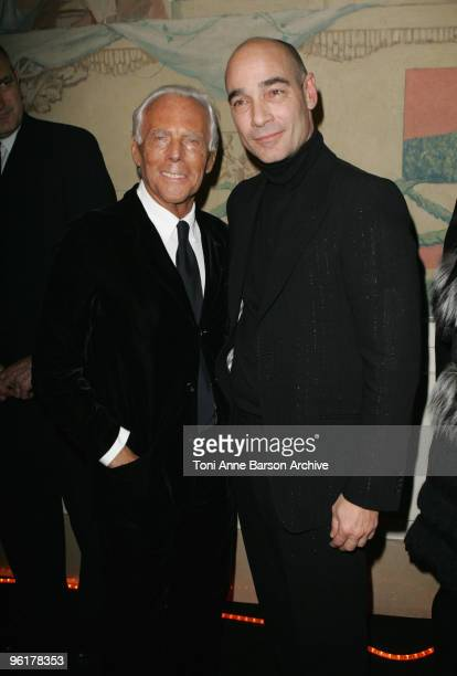 Giorgio Armani and JeanMarc Barr attend the Giorgio Armani Prive HauteCouture show as part of the Paris Fashion Week Spring/Summer 2010 at Palais de...