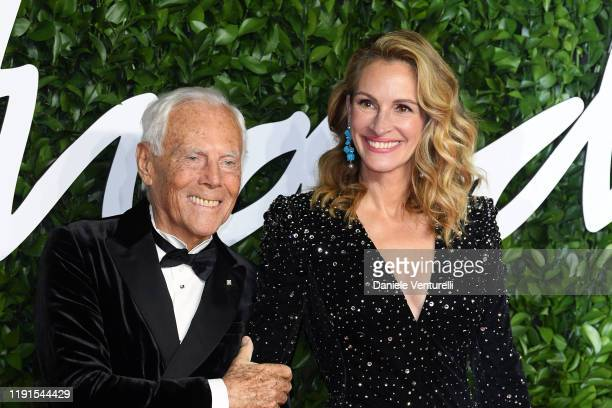 Giorgio Armani and Julia Roberts arrives at The Fashion Awards 2019 held at Royal Albert Hall on December 02 2019 in London England