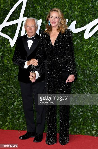 Giorgio Armani and Julia Roberts attend The Fashion Awards 2019 at the Royal Albert Hall on December 02 2019 in London England