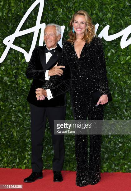 Giorgio Armani and Julia Roberts attend The Fashion Awards 2019 at the Royal Albert Hall on December 02, 2019 in London, England.