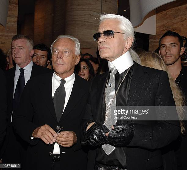 Giorgio Armani and Karl Lagerfeld during Fendi New York City Flagship Store Opening Inside at Fendi Flagship Store in New York City New York United...
