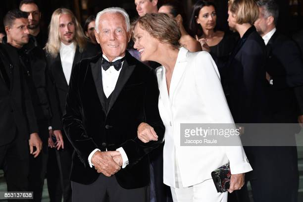 Giorgio Armani and Lauren Hutton attend the Green Carpet Fashion Awards Italia 2017 during Milan Fashion Week Spring/Summer 2018 on September 24,...