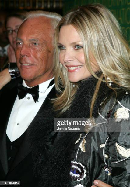 Giorgio Armani and Michelle Pfeiffer during The Fashion Group International Presents The 21st Annual Night of Stars at Cipriani 42nd Street in New...
