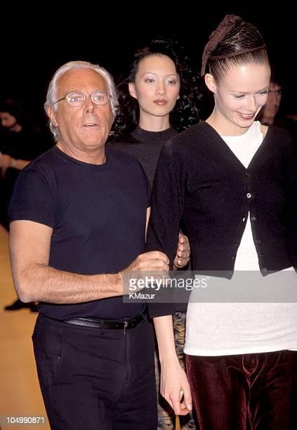 Giorgio Armani and model during Emporio Armani Opening at Emporio Armani in New York City, New York, United States.
