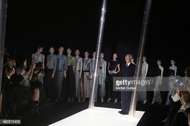 Giorgio Armani and Models walk the runway during the Giorgio Armani Prive show as part of Paris Fashion Week Haute Couture Spring/Summer 2015 on...