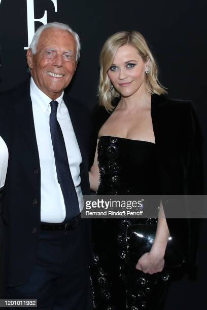 Giorgio Armani and Reese Witherspoon pose after the Giorgio Armani Prive Haute Couture Spring/Summer 2020 show as part of Paris Fashion Week on...