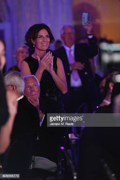 Giorgio Armani and Roberta Armani attend the Milano Gala Dinner benefitting the Novak Djokovic Foundation presented by Giorgio Armani at Castello...