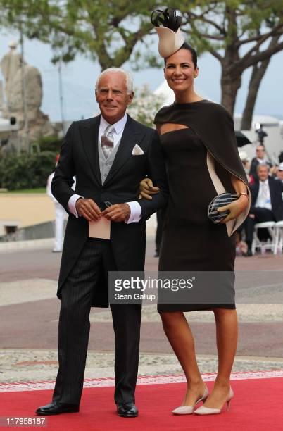 Giorgio Armani and Roberta Armani attend the religious ceremony of the Royal Wedding of Prince Albert II of Monaco to Princess Charlene of Monaco in...