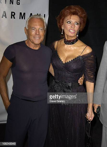 Giorgio Armani and Sophia Loren during Giorgio Armani Receives First Rodeo Drive Walk Of Style Award at Rodeo Drive in Beverly Hills California...