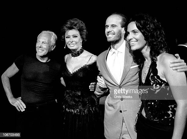 Giorgio Armani and Sophia Loren during Giorgio Armani Receives First 'Rodeo Drive Walk Of Style' Award Black White Photography by Chris Weeks at...