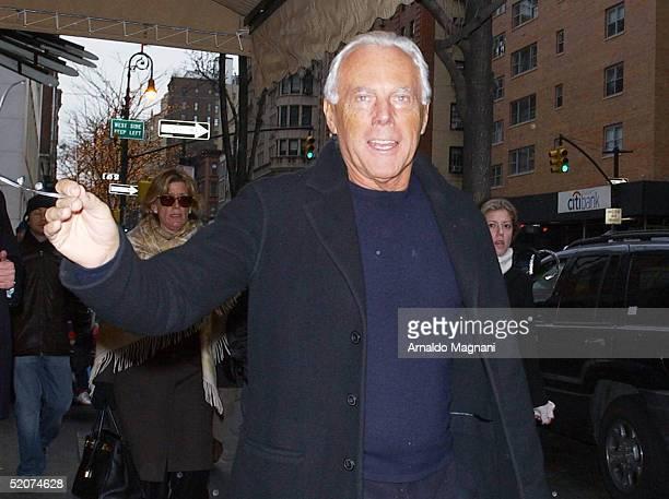 Giorgio Armani arrives at La Goulue restaurant on December 26 2004 in New York City