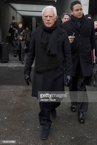 Giorgio Armani arrives at the Giorgio Armani fashion show as part of Milan Fashion Week Womenswear Fall/Winter 2013/14 on February 25 2014 in Milan...