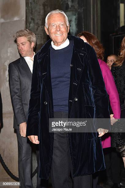 Giorgio Armani arrives at the Giorgio Armani Prive fashion show Paris Fashion Week Haute Coture Spring /Summer 2016 on January 26 2016 in Paris France