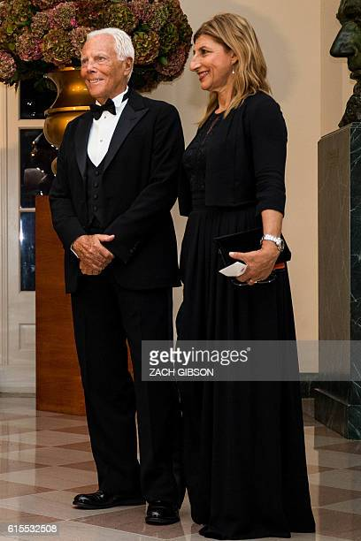 Giorgio Armani arrives for a State Dinner in honor of Italian Prime Minister Matteo Renzi and his wife Agnese Landini at the White House October 18...