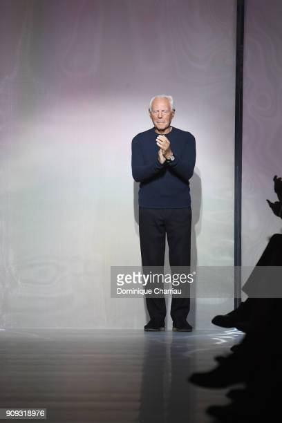 Giorgio Armani arrives on the runway at the end of the Giorgio Armani Prive Haute Couture Spring Summer 2018 show as part of Paris Fashion Week on...