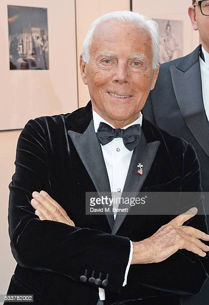 Giorgio Armani attends British Vogue's Centenary gala dinner at Kensington Gardens on May 23 2016 in London England