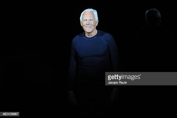 Giorgio Armani attends the Emporio Armani show as a part of Milan Fashion Week Menswear Autumn/Winter 2014 on January 13, 2014 in Milan, Italy.