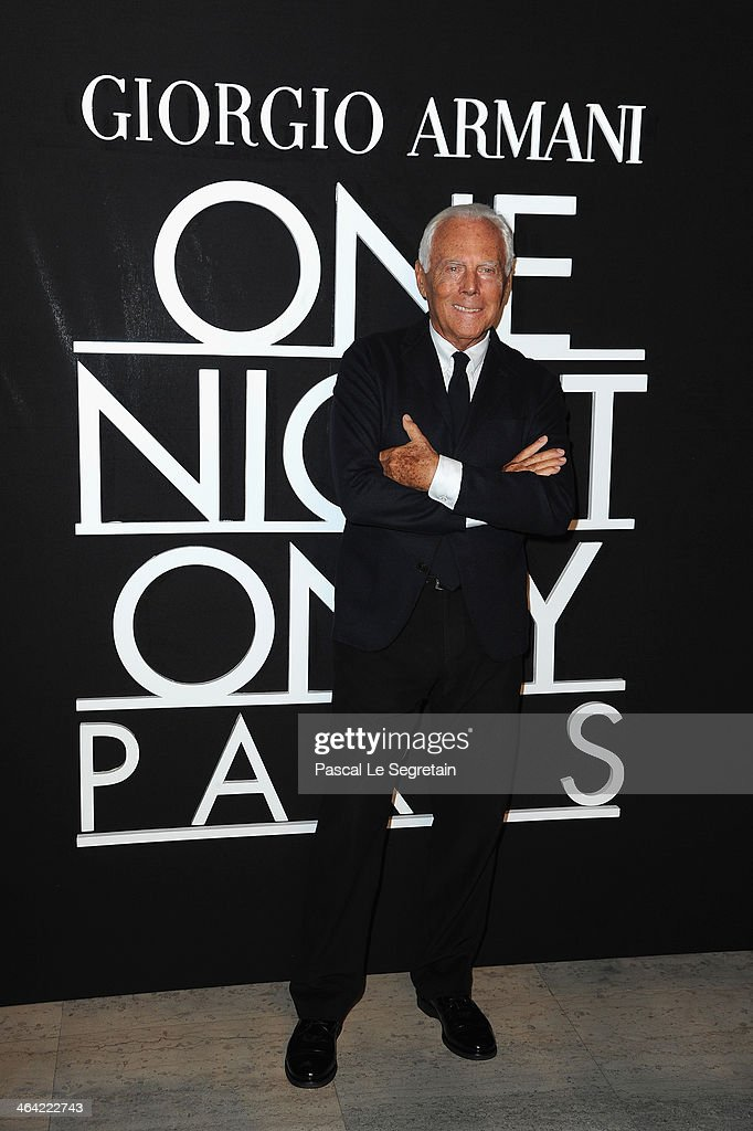 Giorgio Armani attends the Giorgio Armani Prive show as part of Paris Fashion Week Haute Couture Spring/Summer 2014 on January 21, 2014 in Paris, France.
