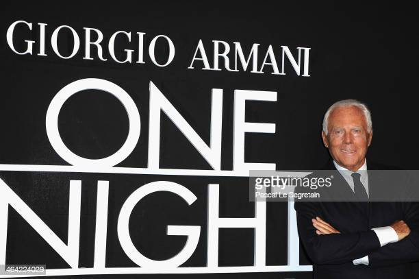 Giorgio Armani attends the Giorgio Armani Prive show as part of Paris Fashion Week Haute Couture Spring/Summer 2014 on January 21, 2014 in Paris,...