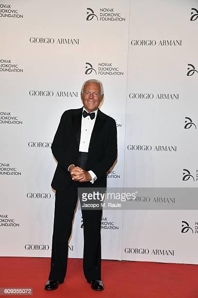 Giorgio Armani attends the Milano Gala Dinner benefitting the Novak Djokovic Foundation presented by Giorgio Armani at Castello Sforzesco on...