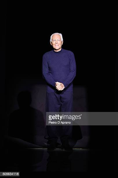 Giorgio Armani attends the runway at the Giorgio Armani show during Milan Men's Fashion Week Fall/Winter 2016/17 on January 19 2016 in Milan Italy