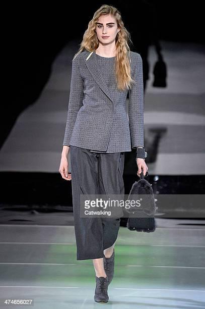 Giorgio Armani Autumn Winter 2014 fashion show during Milan Fashion Week on February 24, 2014 in Milan, Italy.