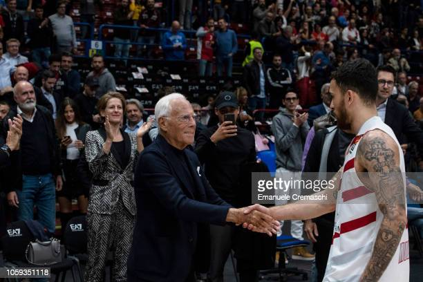 Giorgio Armani congratulates with Mike James #2 of AX Armani Exchange Olimpia Milano after the Turkish Airlines EuroLeague Regular Season Round 4...