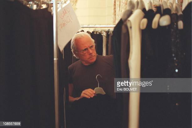 Giorgio Armani during the preparation of the fashion show in Place Saint Sulpice in Paris, France in March, 1998.