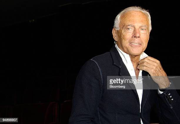 Giorgio Armani fashion designer pauses after the presentation of the Metropolitan Museum of Art's Costume Institute exhibition called 'The Power of...