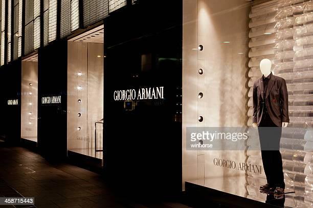 giorgio armani flagship store - giorgio armani designer label stock pictures, royalty-free photos & images