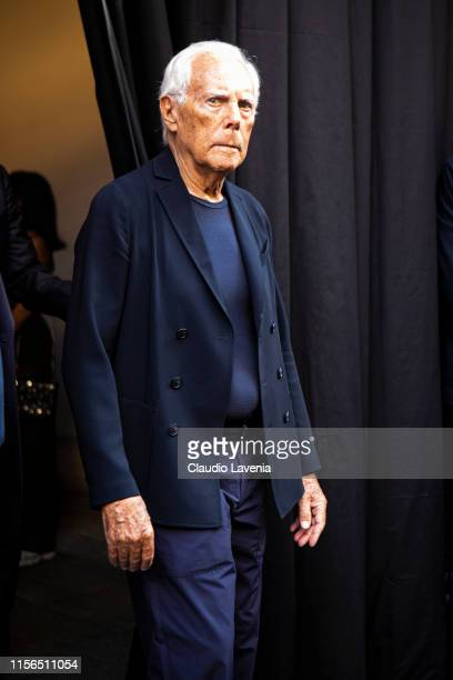 Giorgio Armani is seen during the Milan Men's Fashion Week Spring/Summer 2020 on June 17, 2019 in Milan, Italy.