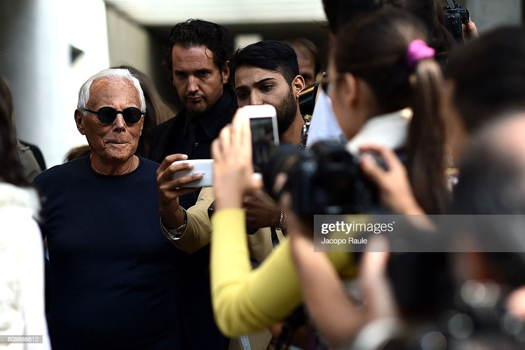 Giorgio Armani is seen leaving the Giorgio Armani show during Milan Fashion Week Spring/Summer 2017 on September 23, 2016 in Milan, Italy.