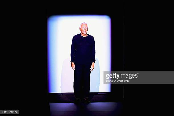 Giorgio Armani is seen on the runway at the Emporio Armani show during Milan Men's Fashion Week Fall/Winter 2017/18 on January 14 2017 in Milan Italy