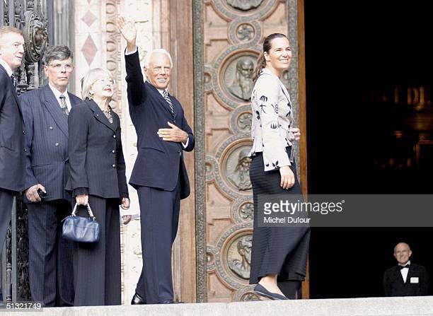 Giorgio Armani leaves St Stephen's Basilica after the wedding of Carlo Ponti Jr to Andrea Meszaros September 18 2004 in Budapest Hungary