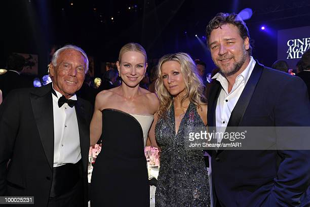 Giorgio Armani Naomi Watts Danielle Spencer and Russell Crowe attend amfAR's Cinema Against AIDS 2010 benefit gala dinner at the Hotel du Cap on May...