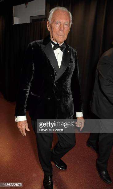 Giorgio Armani poses backstage stage during The Fashion Awards 2019 held at Royal Albert Hall on December 2, 2019 in London, England.