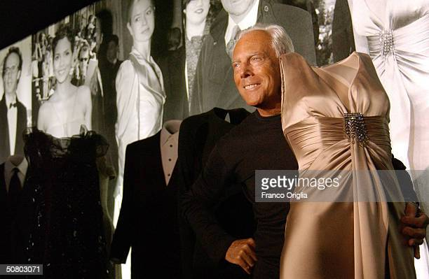 Giorgio Armani poses during the opening of his retrospective exhibition at the Baths of Diocletiano on May 5 2004 in Rome Italy