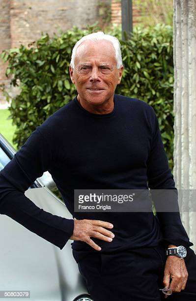 Giorgio Armani poses during the opening of his retrospective exhibition at the Baths of Diocletiano on May 5, 2004 in Rome, Italy.