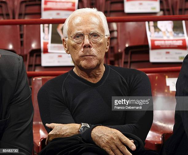 Giorgio Armani President of AJ Milano looks on during the Euroleague Basketball Game 2 match between Armani Jeans Milano and Efes Pilsen Istanbul at...