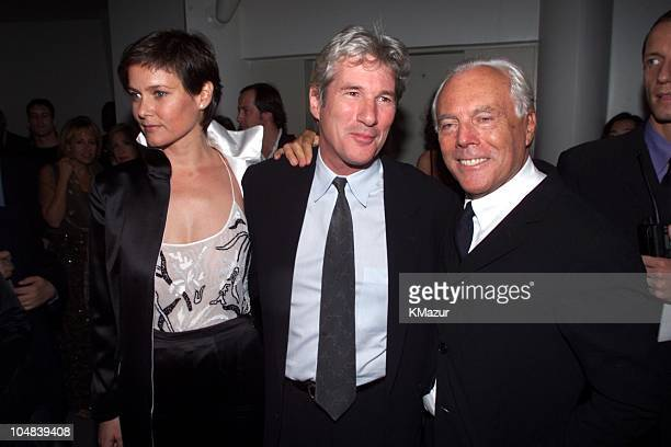 Giorgio Armani Richard Gere and wife during Reception to celebrate the opening of Giorgio Armani Exhibition which will run through January 17 2001 at...