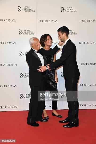 Giorgio Armani, Roberta Armani and Novak Djokovic attend the Milano Gala Dinner benefitting the Novak Djokovic Foundation presented by Giorgio Armani...