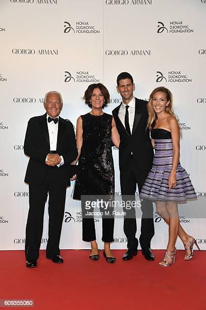 Giorgio Armani, Roberta Armani, Novak Djokovic and Jelena Djokovic attend the Milano Gala Dinner benefitting the Novak Djokovic Foundation presented...