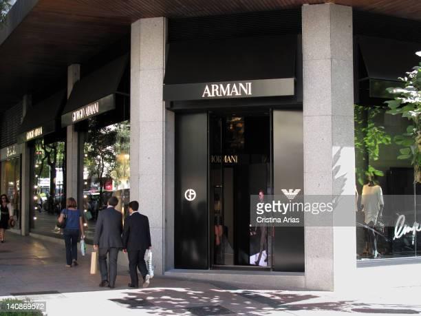 Giorgio Armani shop in the Madrid's Golden Mile Salamanca district Spain October 2011